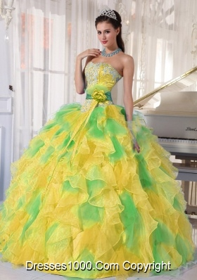 Ball Gown Appliques and Ruffles Organza Long Multi-Colored Quinceanera Dress