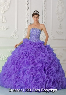 Ball Gown Strapless Organza Purple Sweet Fifteen Dress with Beading and Ruffles