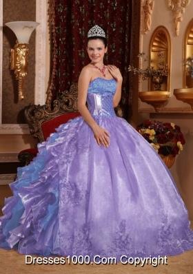 Ball Gown Strapless Ruffles Organza Embroidery Lavender Sweet Fifteen Dress