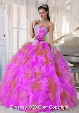Ball Gown Sweetheart Organza Long Most Popular Quinceanera Dress witih Appliques