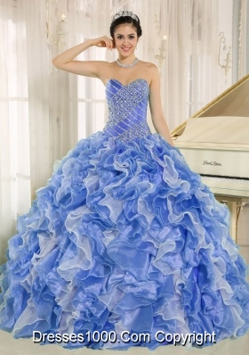 Beaded Bodice and Ruffles Custom Made Blue and White Multi-Colored Quinceanera Dress