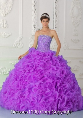 Fuchsia Ball Gown Sweet Fifteen Dress Strapless Organza Beading