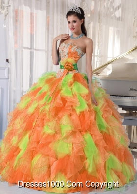 Hand Made Flower and Ruffles Sweetheart Long Multi-Colored Quinceanera Dress
