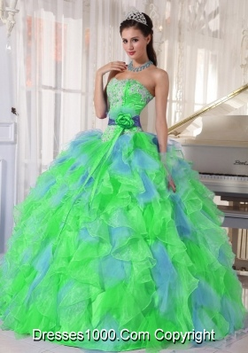 Multi-color Sweetheart Appliques Plus Size Quinceanera Dress with Green Flower