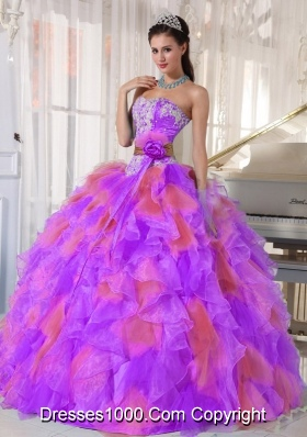 Organza Appliques and Ruffles Sweetheart New Style Quinceanera Dress in Multi-color