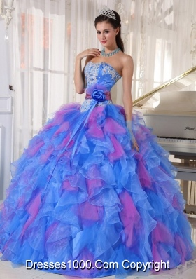 Organza Sweetheart Appliques Sweet Fifteen Dress with Flower on Sash