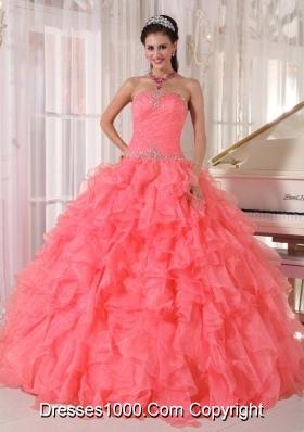 Popular Strapless Watermelon Red Ruffles Beading Sweet Fifteen Dress for 2014