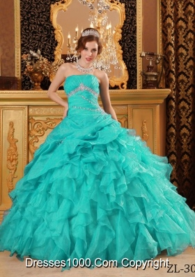2014 Exclusive Turquoise Ball Gown Beading Quinceanera Dress with Ruffles