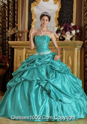 2014 Lovely Teal Ball Gown Strapless Beading Quinceanera Dress with Appliques