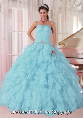 2014 Low Price puffy Aqua Blue Quinceanera Dress with Beading and Ruffles
