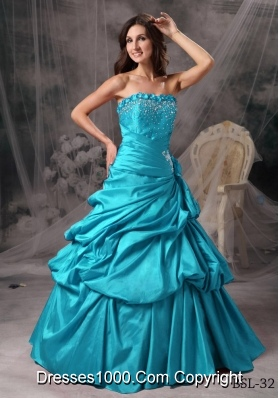 Aqua Blue Princess Strapless Floor-length Taffeta Beading Quinceanera Dress