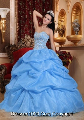 Blue Ball Gown Sweetheart Floor-length Quinceanera Dress with Organza Beading