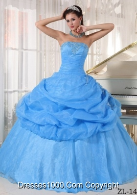 Aqua Blue  Ball Gown Strapless Floor-length Quinceanera Dress with Organza Appliques