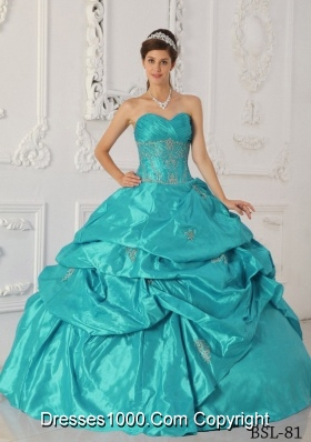 2014 Elegant Teal Ball Gown Sweetheart Appliques Quinceanera Dress