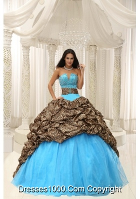 2014 Leopard and Organza Beading Decorate Sweetheart Neckline Quinceanera Dress