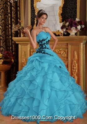 2014 Lovely Aqua Blue Ball Gown Sweetheart Appliques Quinceanera Dress with Ruffles