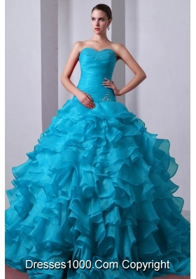 2014 Popular Quinceanea Dress in Aqua Blue Princess with Beading and Ruffles