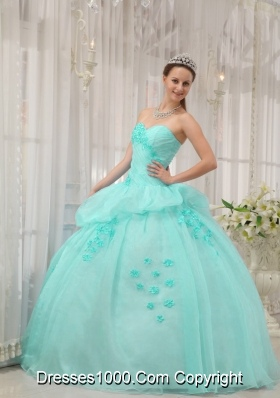 Apple Green Ball Gown Sweetheart Quinceanera Dress with Organza Appliques
