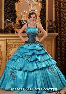 Aqua Blue Ball Gown Straps Floor-length Quinceanera Dress with Taffeta Appliques