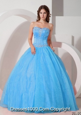 Aqua Blue Beautiful Sweetheart Appliques Quinceanera Dress with Beading