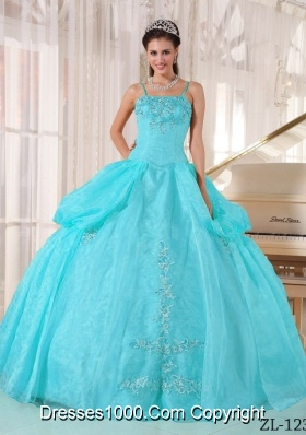 Aqua Blue Spaghetti  Straps Taffeta and Organza Quinceanera Dress with Appliques