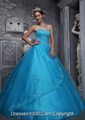 Aqua Blue Sweetheart Quinceanera Dress Taffeta  Tulle  Beading Appliques