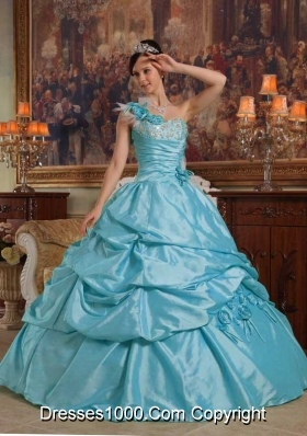 Baby Blue Ball Gown One Shoulder Quinceanera Dress  with  Hand Flowers Taffeta