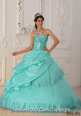 Baby Blue Princess Sweetheart Quinceanera Dress with  Taffeta  Beading
