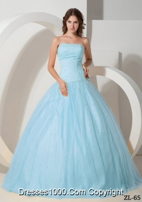 Ball Gown Strapless Floor-length Tulle Quinceanera Dress with  Beading