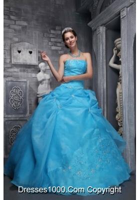 Beautiful Strapless Taffeta Quinceanera Dress with Organza Appliques Aqua Blue