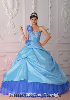 Blue Ball Gown One Shoulder Quinceanera Dress  with Taffeta Beading Hand Flower