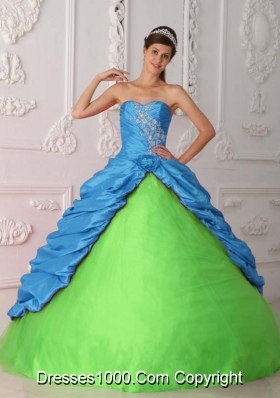 Green and Blue Ball Gown Sweetheart Quinceanera Dress with  Taffeta Appliques Ruching