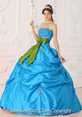 Teal Ball Gown Strapless Quinceanera Dress with  Taffeta Beading  Sash