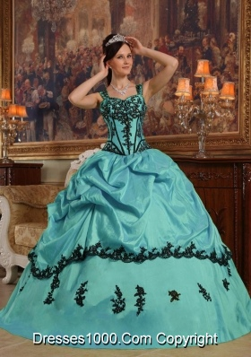 Turquoise Ball Gown Straps Quinceanera Dress  with  Appliques Taffeta