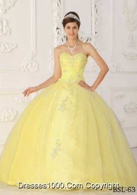 Yellow Sweetheart Taffeta Appliques Puffy Quinceanera Gowns