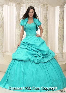 2014 New Style Aqua Blue Sweetheart Appliques Lace Up For Quinceanera Dress