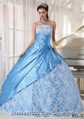2014 Spring Aqua Blue Ball Gown Strapless Quinceanera Dress with Lace