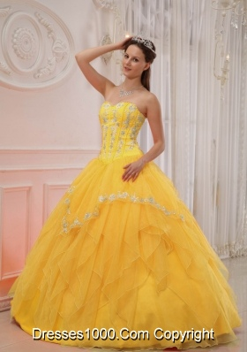 Appliqued and Ruffled Yellow Quinces Dresses Sweetheart Organza