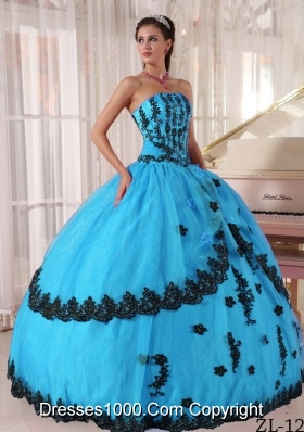 Aqua Blue Ball Gown Strapless Floor-length Quinceanera Dress with Appliques