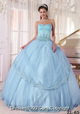 Aqua Blue Lilac Sweetheart Long Quinceanera Dress with Appliques