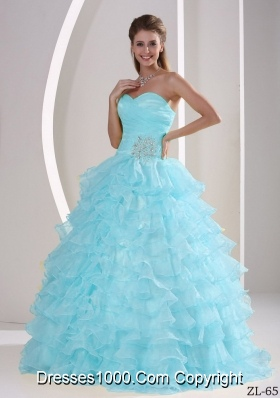 Aqua Blue Ruffles Sweetheart Appliques and Ruching Quinceaners Gowns For Military Ball