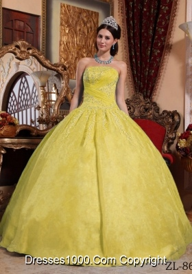 Cheap Strapless Organza Appliques Yellow Puffy Quinceanera Gown