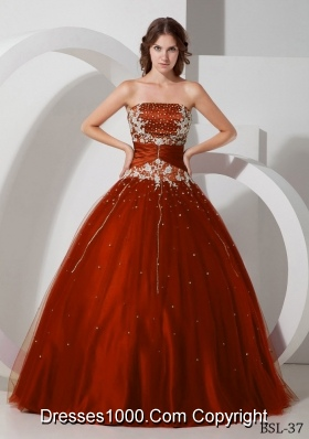 Discount Appliques and Beading Wine Red Quinceanera Dresses Gowns