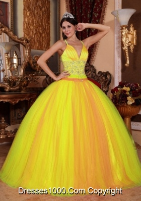 New Style Spaghetti Straps Tulle Beading Quinceanera Gown