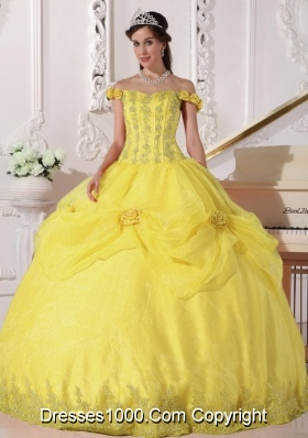 Off The Shoulder Appliques and Hand Made Flowers Yellow Quinceanera Gowns