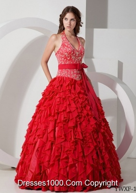 Pretty Princess Halter Chiffon Embroidery and Ruffles Dresses Quinceanera
