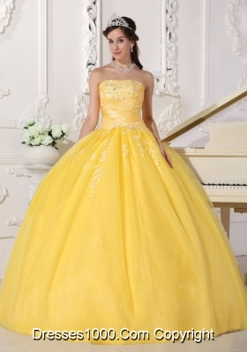 Puffy Strapless Appliques Quinceanera Gowns in Yellow