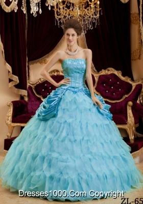 2014 Aqua Blue Ball Gown Strapless Floor-length Quinceanera Dress with Ruffles