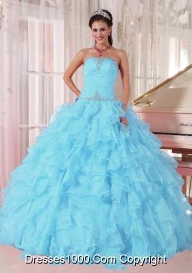 Aqua Blue Ball Gown Strapless Ruffles Quinceanera Dress with Organza Beading
