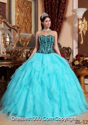 Aqua Blue Ball Gown Sweetheart Organza Embroidery  Quinceanera Dress  with Beading